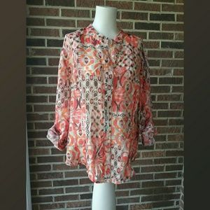 Ruby Rd. Floral Sheer Top Size 18